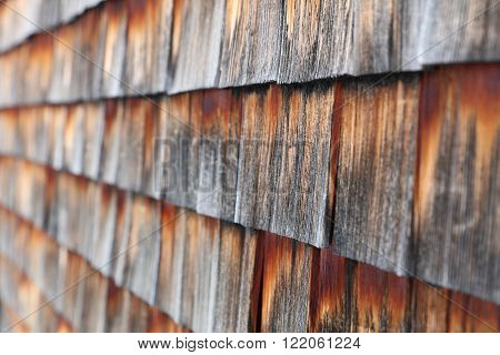 Detail of weathered wooden shingles in Austria ** Note: Shallow depth of field