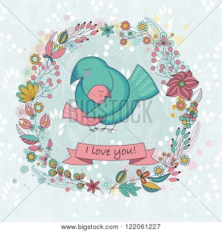 Vector cute card for Happy mothers day. Background with floral wreath and Mother's hugs. Cute birds - mom and nestling.