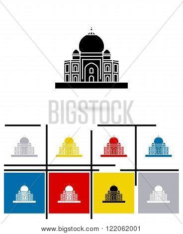 Taj Mahal in India icon or Taj Mahal in India sign. Vector Taj Mahal pictogram