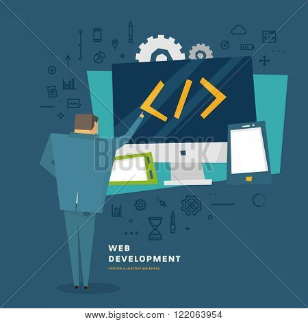 E-commerce and Mobile Technologies. Business Concept. Flat Style Thin Line Icons Set.