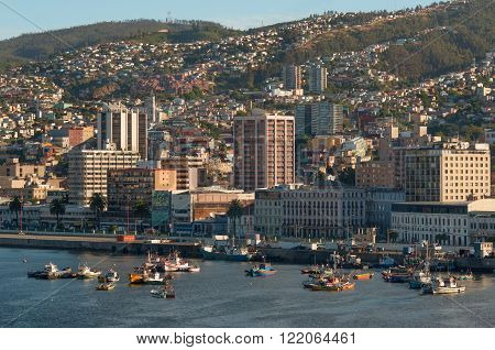 Valparaiso Chile - December 4 2012: City scape of the UNESCO World Heritage city of Valparaiso as seen from the harbor Chile.