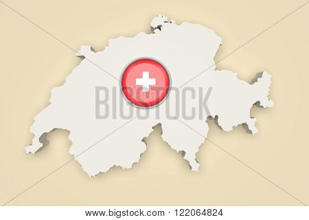 Silhouette Of Switzerland With Switzerland Flag On Button