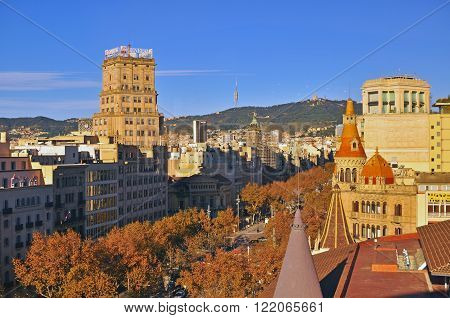 BARCELONA SPAIN - DECEMBER 9: View of Barcelona city centre on December 9 2014. Barcelona is the secord largest city of Spain.