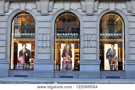 BARCELONA SPAIN - DECEMBER 9: Facade of Burberry flagship store in Paseo de Gracia Barcelona on December 9 2014. Burberry is a luxurious fashion brand founded in Great Britian.