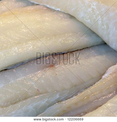 Filleted cod on fish market