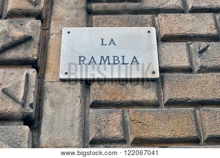 La Rambla sign in Barcelona city, Spain