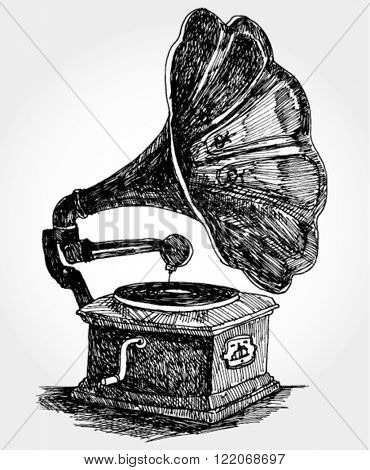 Vintage Gramophone Hand Drawn