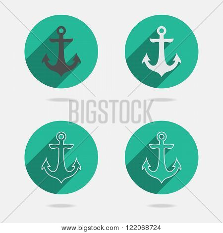 Nautical white metal flat icon anchor illustration with long shadow isolated on white background. Vector seamless retro button with anchors silhouette. Web page element EPS10