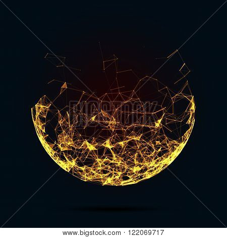 Abstract vector mesh spheres. Futuristic technology low poly style. Elegant dots background for business presentations. Flying debris lines. Illustration eps10