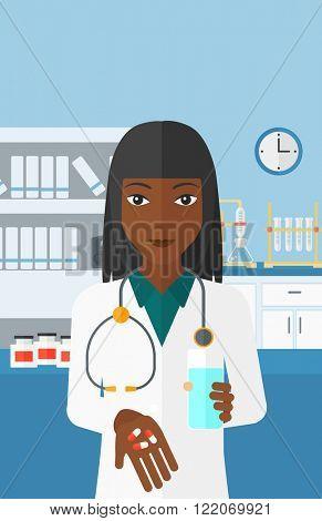 Pharmacist giving pills.