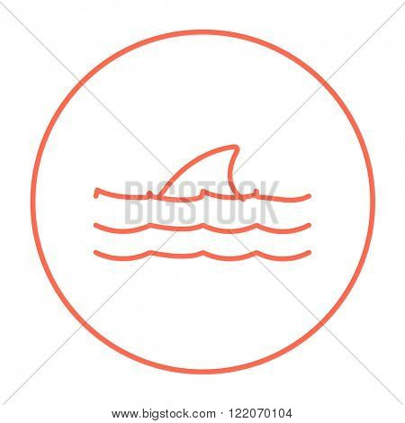 Dorsal shark fin above water line icon.
