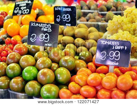 Vegetables and fruits in Boqueria food market