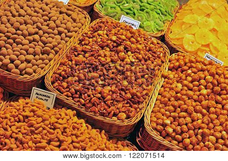 Assortie of nuts in the market stall
