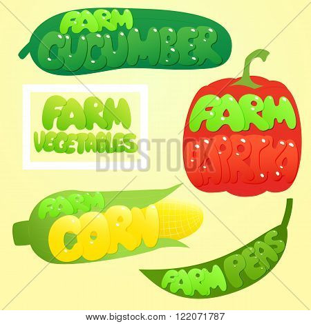 Farm Vegetables set. Vegetables labels. Paprika, Cucumber, Peas, Corn. Cute  Vegetable.