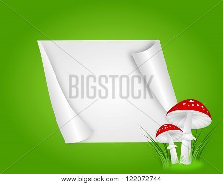 Illustration of two toadstools on green background with blank paper sheet