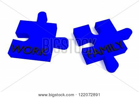 Blue Puzzle work and family, jigsaw on a white background