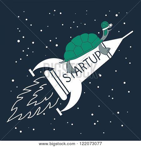 Fast startup, speed concept, flat design illustration
