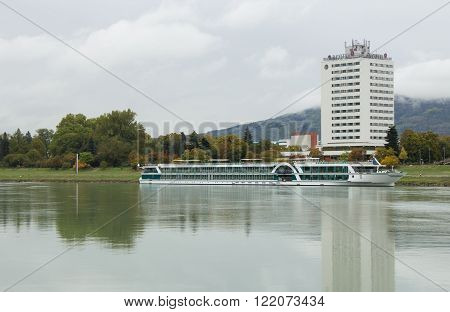 River cruise on the Danube in the port of Linz