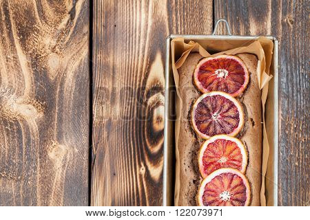 Healthy and delicious spelt cake with blood oranges