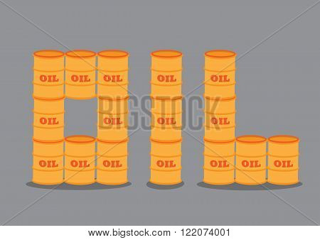 Crude oil barrels stacking on top of one another to form text OIL. Vector illustration isolated on grey background.