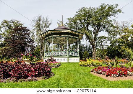 A beautiful ornate gazebo in a public garden in Halifax Nova Scotia