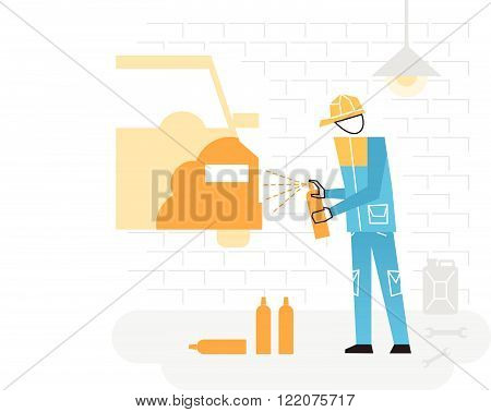 Auto repairer, services and works, flat design illustration