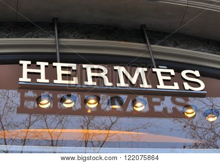 BARCELONA SPAIN - FEBRUARY 5: Logotype of Hermes flagship store in Paseo de Gracia Barcelona February 5 2015. Hermes is a french world famous luxury brand.
