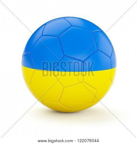 Ukraine soccer football ball with Ukrainian flag isolated on white background