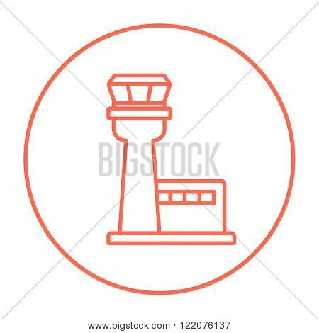 Flight control tower line icon.