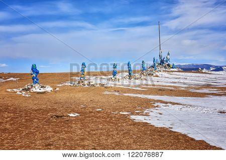 Western part of shamanic sanctuary Arvan-Gurvan-ovoo . Hovsgol . Mongolia