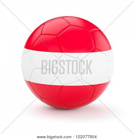 Austria soccer football ball with Austrian flag isolated on white background