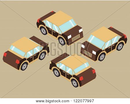 Set of isometric car.Flat 3d  set of Isometric cars