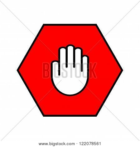 Stop sign. Open palm in red octagon. Pass prohibited
