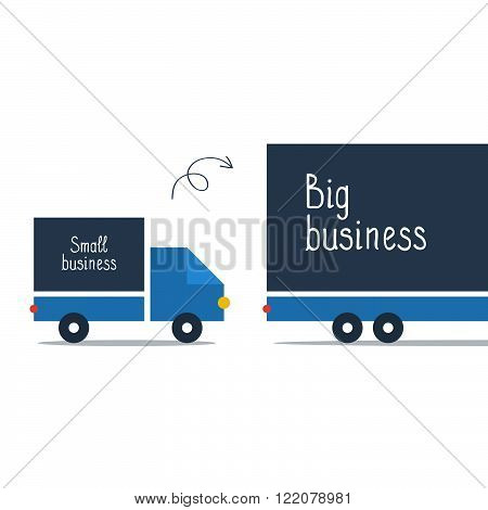 Business size comparison or enlargement, flat design illustration