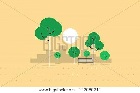 City park, summer season, flat design illustration