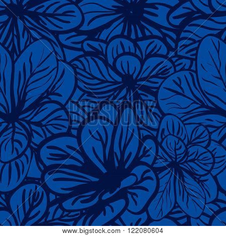 Floral background with blue flowers. Seamless pattern