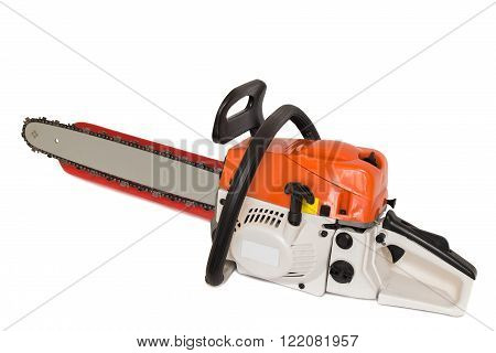 On a white background presents a modern chainsaw with ergonomic design.