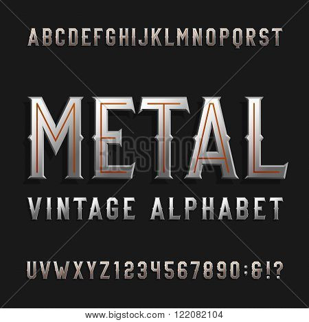 Vintage style alphabet vector font. Metal effect letters and numbers on a dark background. Retro vector typeface for labels, flyers, headlines, posters etc.