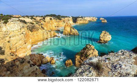Praia da Marinha  - impressive beach with rocks in Algarve, Portugal