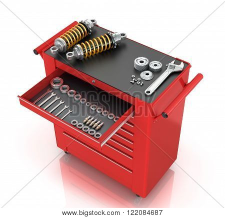 Red tool box of car parts isolated white background.