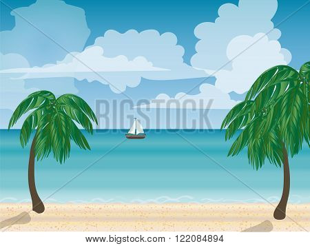 Yacht sea natural landscape. Tourism journey sea. Cruise. Beach vacation. Vector illustration