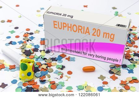 Open medicine packet labelled euphoria opened at one end to display a blister pack of tablets it's a medical fake product isolated on white