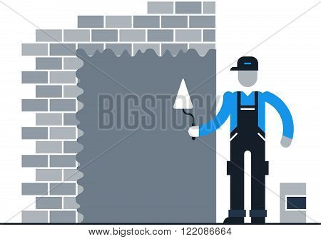 Stucco worker, finishing works, flat design illustration