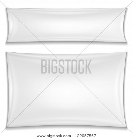 Two blank white textile banners isolated on a white background