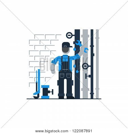 Plumbing services and works, flat design illustration