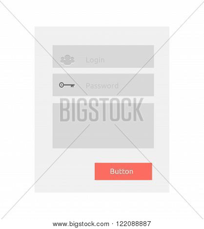 Website element login and password. Password login website, register button, web, interface internet form site or menu page window vector illustration