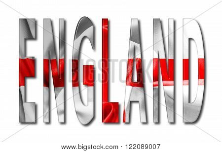 England St George's cross wording with a bevelled flag texture on an isolated white background with a clipping path with and without shadows