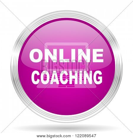 online coaching pink modern web design glossy circle icon