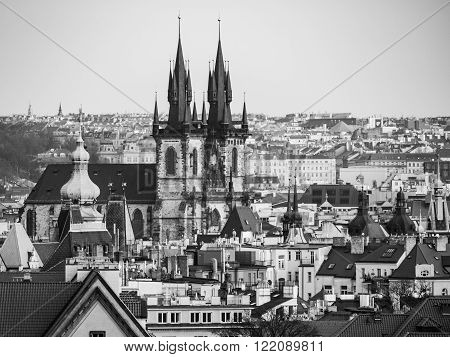 Prague Old Town with Church of Our Lady before Tyn. Aerial view from Letna Park, Czech Republic. Black and white image.