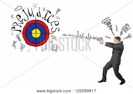 Businessman shooting from gun to darts with word prejudice isolated on white background, goal concept